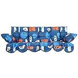 PATIO Auflagen Set Bora für Hollywoodschaukel Polsterauflage Sitzkissen Rückenkissen Seitenkissen Gesteppt H005-01BB 170 cm (blau/orange)