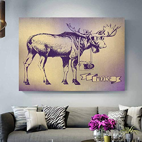 ScottDecor Moose Modern Art Hipster Deer with Shade Sunglasses and Camera Vintage Ombre Design Funny Animal Art Best Gifts of 2020 Purple Beige L24 x H48 Inch
