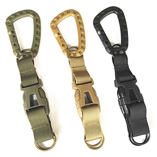 3Pcs Tactical Gear Carabiner Clips Premium Nylon Multifunction Webbing Backpack Buckle Heavy Duty Keychain Clip Assorted Colors