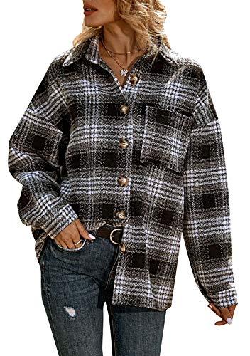 YMING Damen Karierte Jacken Knöpfe Langarm Oversize Hemdjacke Casual Plaid Plüsch Fleece Jacke Mantel Tunika Schwarz Gitter S