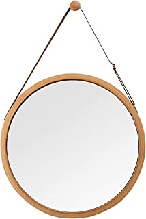 Hanging Round Wall Mirror in Bathroom & Bedroom - Solid Bamboo Frame & Adjustable Leather Strap (Bamboo, 17-3/4
