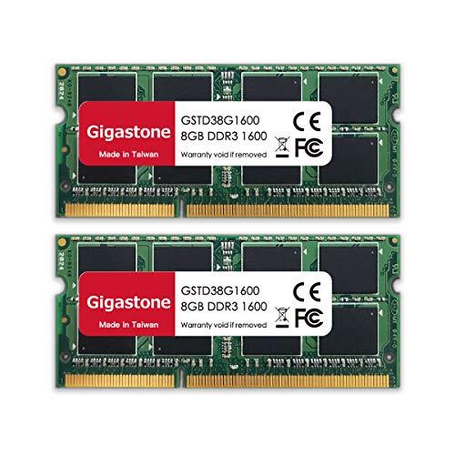 Gigastone DDR3 16GB (8GBx2) 1600MHz PC3-12800 CL11 1.35V UDIMM 204 Pin sin búfer sin ECC Portátil Módulo de Memoria Actualización de Ram Kit de actualización