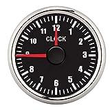 Qiilu Car Clock Meter, 2in Universal 0‑12 Hourmeter Clock Instrument Panel Gauges Display Red Backlight 12V/24V for Car Boat Yacht(Black)