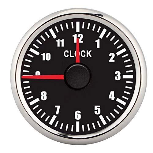 Medidor de reloj con esfera, 2 pulgadas Universal 0-12 Contador de horas Reloj Panel de instrumentos Indicadores Pantalla Retroiluminación roja 12V/24V para coche, barco, yate(Negro)