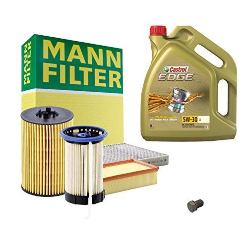 Inspektionspaket MANN-FILTER + 5L Castrol Edge 5W30 Filterset Service-Set SET P-H-05-00102 Service/Wartung