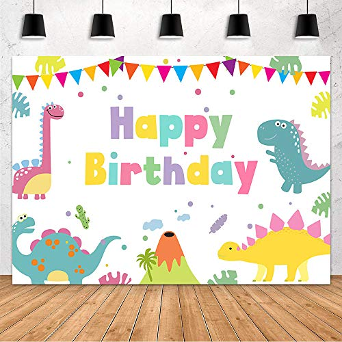 Mehofond Cartoon Dinosaur Happy Birthday Party Backdrop Decoration for Boy Backdrop Rainbow Colorful Lovely Funny Dinosaurs Child Girl Boy Kids Photography Background Banner Studio Photo Props 7x5ft