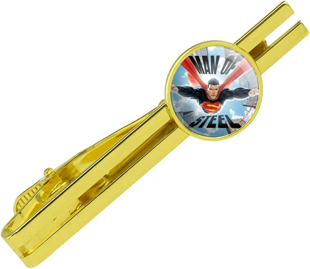 GRAPHICS & MORE Superman Man of Steel Round Tie Bar Clip Clasp Tack Gold Color Plated
