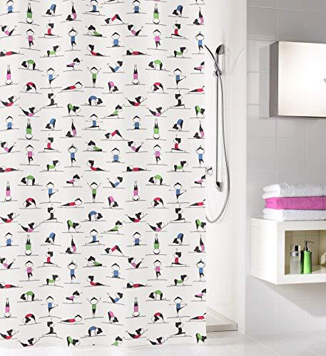 Kleine Wolke Yogi Duschvorhang, 100prozent Polyester, Multicolor, 180x200 cm