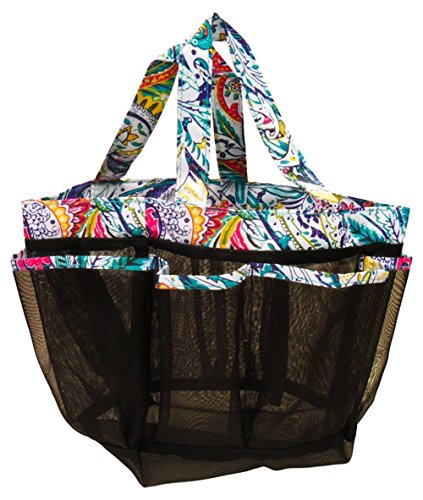 Best Portable Shower Caddy Organizer Multicolored Paisely Cosmetic Bag Countertop Makeup Fashion Home Bathroom Essentials Clearance Prime Top Anniversary Gifts Idea for Wife Mom Women