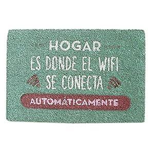 Hogar y Mas Felpudo Original de Coco Natural para Entrada, Felpudos Entrada casa Originales y Divertidos 70x40 cm - Azul