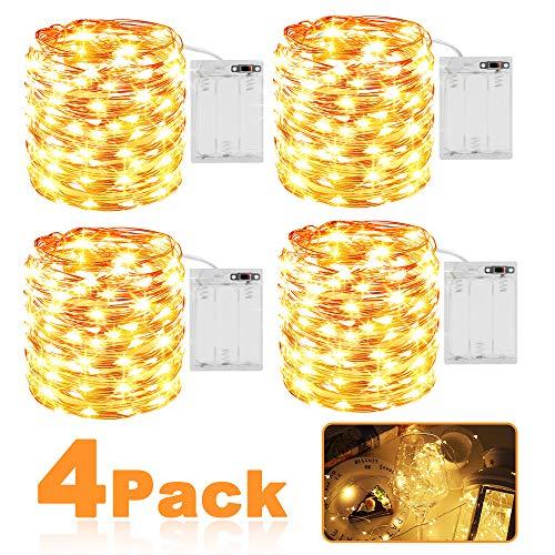 LED Lichterkette Batterie, 4 Stück 3m 30er Micro LED IP65 Wasserdicht Warmweiß Lichterkette Kupferdraht Innen Batteriebetrieben String Beleuchtung für Party, Garten, Weihnachten, Hochzeit