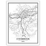 Leinwand Bild,Österreich Innsbruck Stadtplan Einfache