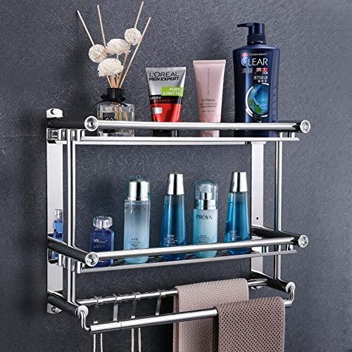 Gasgff Badkamer plank, Handdoek Rack, RVS Handdoek Rack Toilet Badkamer Opslag Rack Badkamer Hardware Hanger Dubbele + Dubbele Paal (Gratis Ponsen Installatie) 50 Cm