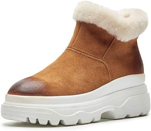 Bottes chaudes pour femmes Bottes en daim à plateforme Bottes montantes Bottes décontractées Bottes de neige en plein air Chaussures de randonnée en plein air Chaussures de ville Chaussures de marche