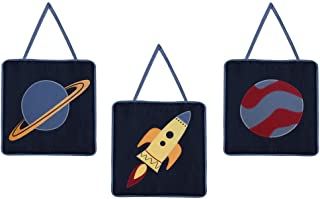 LL Three Piece Blue Red Yellow Rocket Baby Plush Wall Art Set, Navy Nursery Space Themed Hanging Decor, Infant Solar System Planet Galaxy Kids Cute Adorable Childrens Home Accent, Microfiber