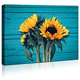 Sunflower Wall Art Canvas Farmhouse Countryside Blue Wooden Board Painting Prints For Living Room Bathroom Wall Decor Pictures Framed Artwork for Walls Yellow Wooden Board Modern Home Size 12x16 In