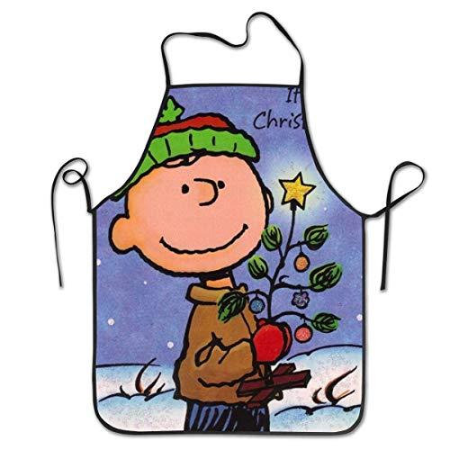 AOOEDM Charlie Brown, Delantales de Barbacoa para cocinar en Navidad, Unisex, Babero de Cocina para cocinar, jardinería, tamaño Adulto