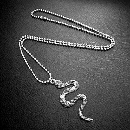 NC122 Necklace Punk Fashion Cobra Snake Pendant Vintage Beaded Link Chain for Men Women Jewelry Gift Chain Women Men