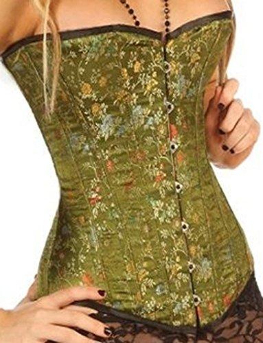 """Green Brocade Silk Corset Basque Fashion Corsets 1801 G (26"""")"""