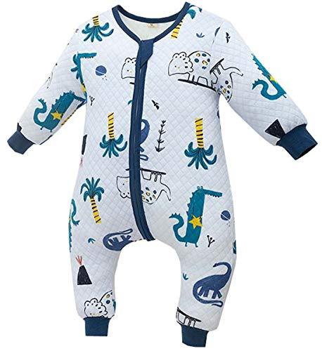 Chilsuessy Baby Ganzjahres Schlafsack 1.5 Tog Babyschlafsack mit Füßen für Säugling Kleinkind Kinder Schlafsäcke Baumwolle Schlafsack mit Beinen, Blau Dino, 80cm/Baby Höhe 90-100cm