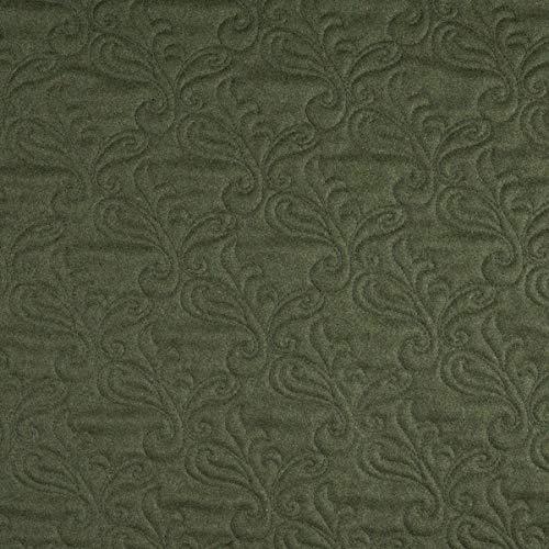 Tejido de tapicería con diseño inglés difícilmente inflamable Lana Highland Acolchado, Color Verde, Tejido Acolchado para Coser, Lana Virgen, absorción de Ruido.