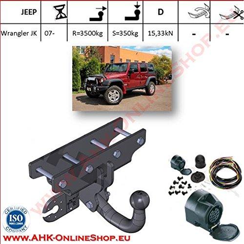 ATTELAGE avec faisceau 13 broches | Jeep Wrangler JK de 2007- / crochet «col de cygne» démontable avec outils