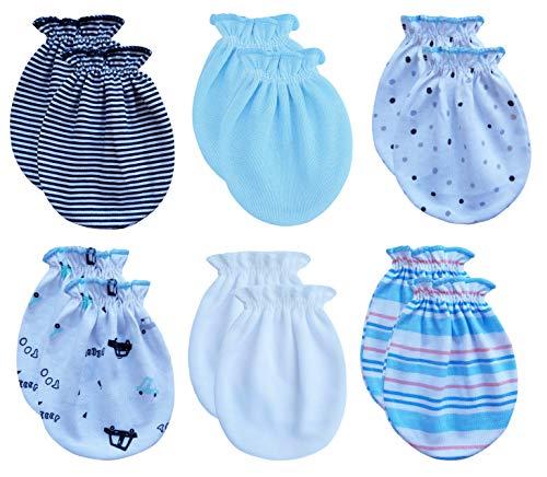 RATIVE Newborn Baby Cotton Gloves No Scratch Mittens For 0-6 Months Boys Girls (Newborn 0-6 Months, 6-pairs/apr 21)