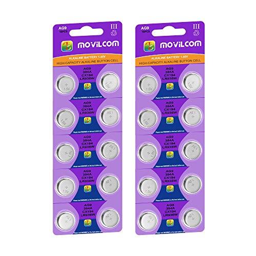 MovilCom® 20 Knopfzellen AG9 Batterien 1,5 V ersetzt 394, SR936SW, V394, D394, 625, SR936, 394/380, LR936