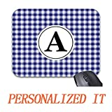 Goodesigns Blue White Plaid Monogram Mouse Pad Trendy Office Desk Accessory 9 x 7.5'
