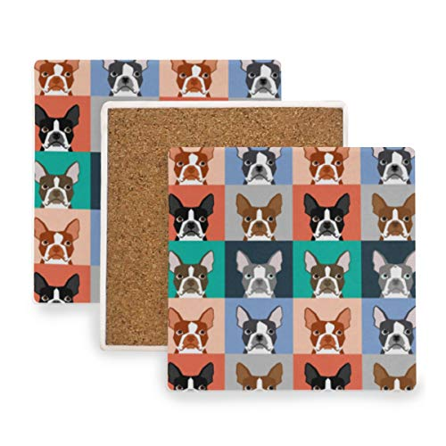 Dogs Puppy Boston Terrier Ceramic Coasters for Drinks,Square 4 Piece Coaster Set