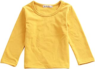 Toddler Baby Girls Boys Basic T-Shirt Long Sleeve Crewneck Cotton Tees Infant Tops