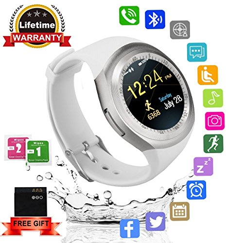 Bluetooth Smartwatch, Smart Watch Rund mit SIM Kartenslot Whatsapp Touchscreen, Intelligente Armbanduhr Sport Fitness Tracker Armband fur Android iPhone ios Samsung Sony Huawei Damen Herren
