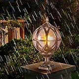 Bronze Wegeleuchte Retro Gartenlampe Wasserdicht IP44 E27 Vintage Aluminium Guss Ball Glas Aussenleuchte Sockelleuchte Balkon Kugel Käfig Pfad Lichter Für Hof Zaun Rasen Eingang (H38CM×21.5CM)