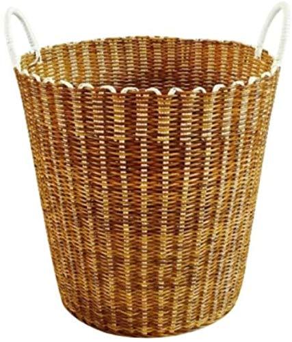 YHX Canasta de Ropa Sucia de plástico Tejida a Mano, Canasta de Almacenamiento de Ropa Sucia, Canasta de lavandería, Canasta de ratán, Caja de Almacenamiento de Juguetes