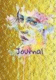 Gold Watercolor Girl Journal- 7X10 Journal