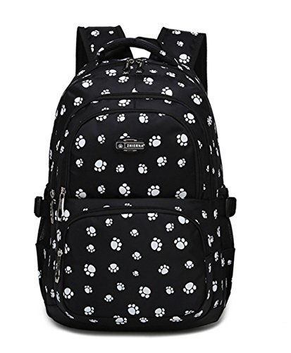 VIDOSCLA Dog Paw Prints Backpack Primary School Student Book Bag School Bag for Students
