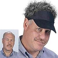 偽の髪かつら キャップ メンズ ヘア バイザー 髪の毛 サンバイザー かつら ウィッグ ゴルフ アウトドア フレアー ヘアーバイザー (ブラックxグレイ)