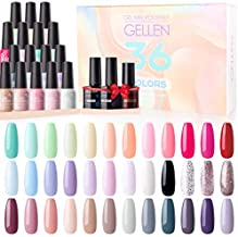 Gellen 36 Colors Gel Nail Polish Kit - with Top&Base Coat Matte Top Coat, Popular Nail Art Designs Colorful Rainbow Nude Grays Glitter Nail Gel Polish Home/Salon Gel Manicure Set