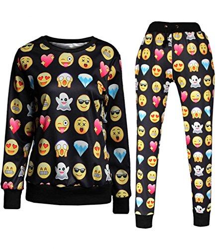 Olivia's Stylism Boutique Emoji Joggers Jogginganzug Sweater Sweatpants 3D Printed Pullover Sport Hose