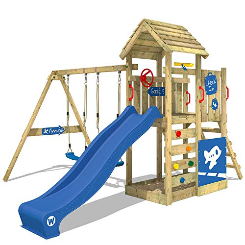 WICKEY Speeltoestel voor tuin MultiFlyer Deluxe met schommel en blauwe glijbaan, Houten speeltuig, Speeltoren voor buiten met zandbak en klimladder voor kinderen