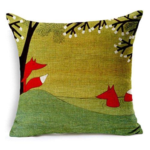 Housses de coussin Longra coton vintage taie d'oreiller en lin Housse de coussin de canapé décoration de maison (D)