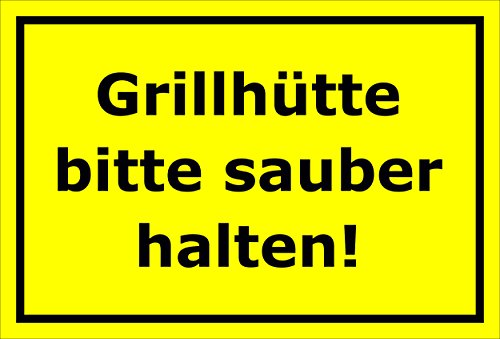 Melis Folienwerkstatt Aufkleber Grill-hütte sauber halten - 30x20cm – 20 VAR S00359-192-C