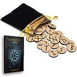 25 de madera runas piedra bolsa Set con diseño y...