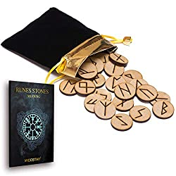 wooden runes set with book