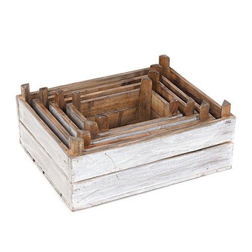 Ensemble de 4 caisses à vin vintage en bois vieilli, style shabby - Couleur : blanc naturel