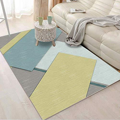 HXJHWB alfombras Salon Grandes Natural Suave - Alfombra de Pelo Corto para el hogar con empalmes geométricos Irregulares Multicolor, impresión Simple en 3D Antideslizante-Los 50CMx80CM
