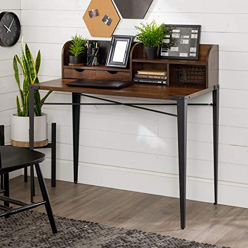 Walker Edison Industrial Metal and Wood Laptop Computer Writing Desk Home Office Workstation Small with Magnetic Board, 42 Inch, Walnut Brown