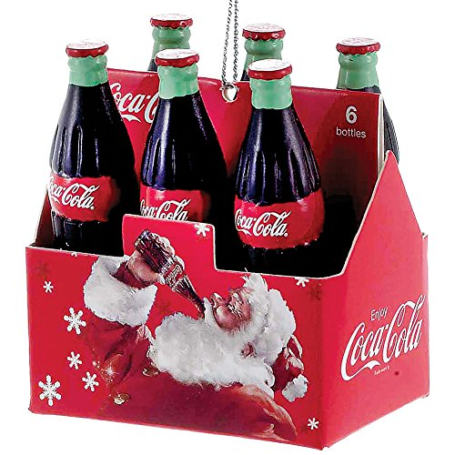Kurt Adler Coca-Cola Six Pack Santa Carton Ornament