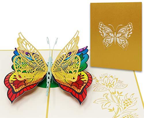 Pop Up 3D Schmetterling-Karte, Glückwunschkarte, Freundschaftskarte, Geschenkkarte, Geburtstagskarte, Überraschungskarte