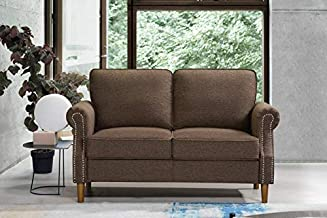 Knowlife Modern Futon Sofa Mini Couch for Bedroom Loveseat Sofa for Small Space, Brown Couch